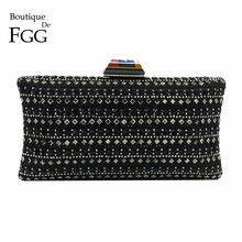 Boutique De FGG Vintage Crystal & Rivet Stripe Women Black Satin Evening Clutch Bag Wedding Party Dinner Handbag Minaudere Purse(China)