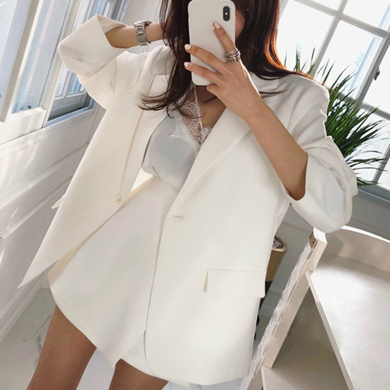 LANMREM 2020 Spring New Casual Fashion Women Loose Solid Color Single Button Suit Thin Coat Shorts Suit TC809