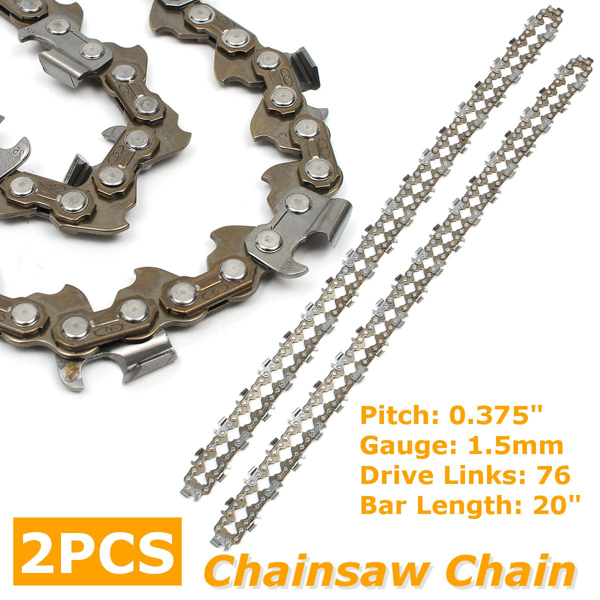 2pcs 20 Inch Chainsaw Chain Semi Chisel For Rotatech Chainsaw Saw Chain Fits Timberpro 62cc 0.375'' 0.058