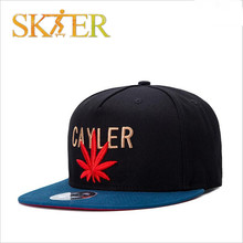 Red leaf decoration with Letter skateboard cap high quality cotton for skateboarding sports and hip hop