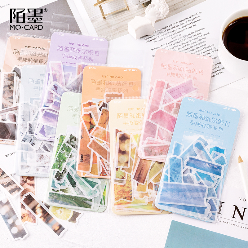 Hand Tear Tape Series Bullet Journal Decorative Washi Stickers Bag Scrapbooking Stick Label Diary Cute Stationery Album Stickers