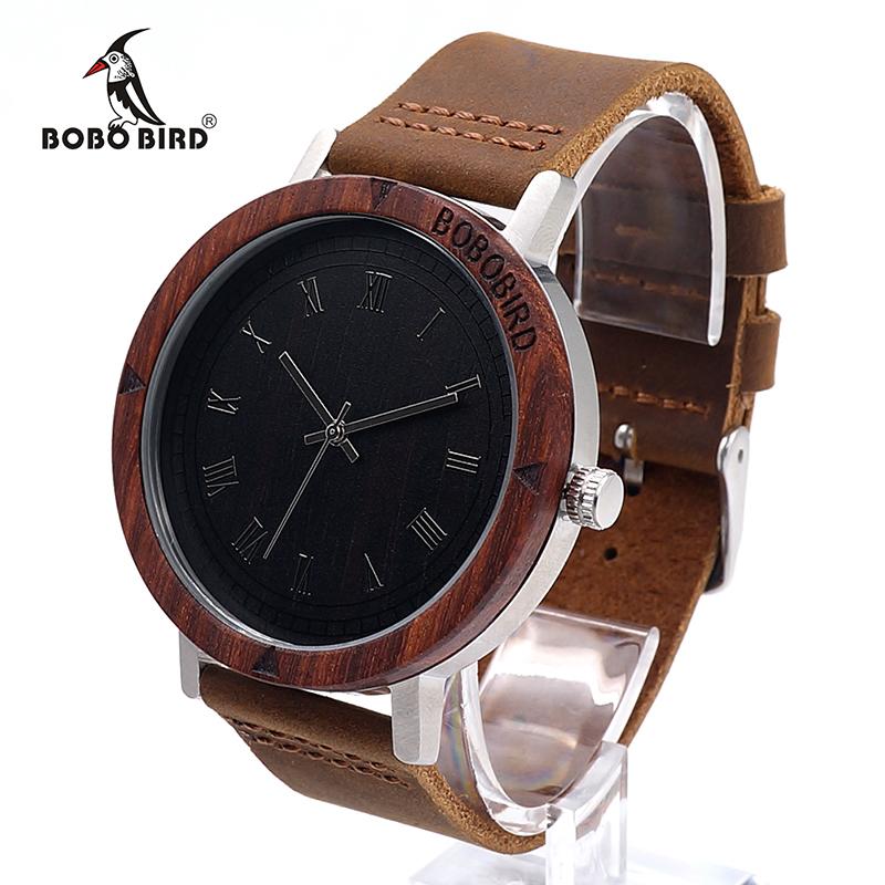 Watch Men Leather Strap Wooden Watches Luxury Wood Wristwatches relogio masculino C-K06