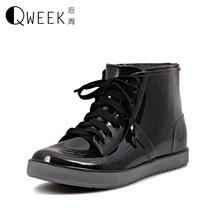 QWEEK Rain font b Boots b font Women Rainboots Rain Women Wellies Rainning Shoes Waterproof font