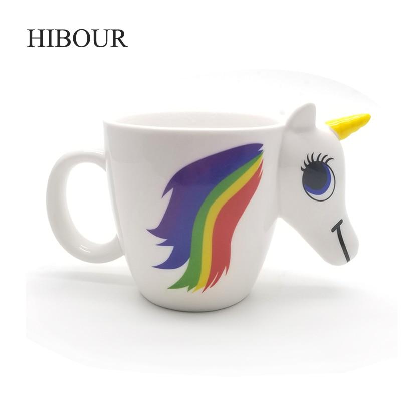 Tazas de unicornio de HIBOUR con temperatura de cambio de Color 3D caricatura creativa lindo regalo mágico caballo copas de cerámica de 350 ml