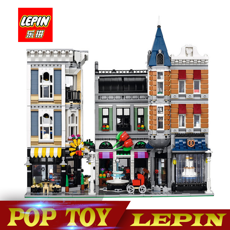 New Lepin 15019 4122pcs Creator Expert Series ASSEMBLY SQUARE Building Blocks Figures Model Bricks Compatible With Legoed 10255 new lepin 16009 1151pcs queen anne s revenge pirates of the caribbean building blocks set compatible legoed with 4195 children