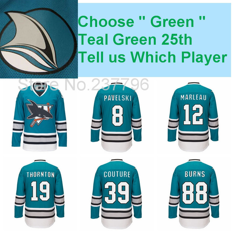 DHL 25th Anniversary San Jose Sharks Jersey Hockey 8 Joe Pavelski 12  Patrick Marleau 19 Joe Thornton 39 Logan Couture 8-in Hockey Jerseys from  Sports ... 40c51f960