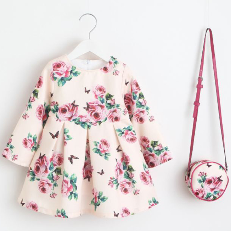 цены Girls Flower Dress with Bag 2018 Brand Kids Dresses for Girls Clothing Children Unicorn Party Princess Dress Costumes Vestidos