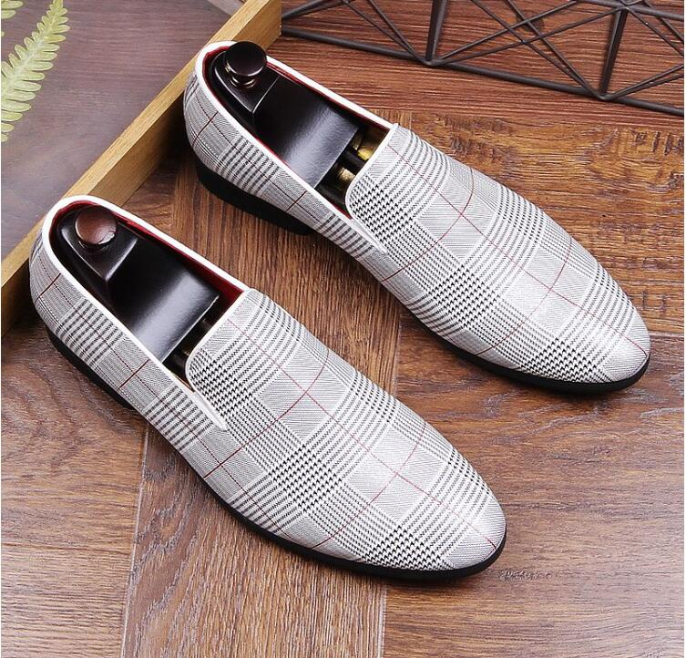 Genuine Leather Men's Dress Shoes Slip-On Mix Colour Striped Male Flats Loafers Smart Casual Moccasin Gommino Spring New Shoes цена