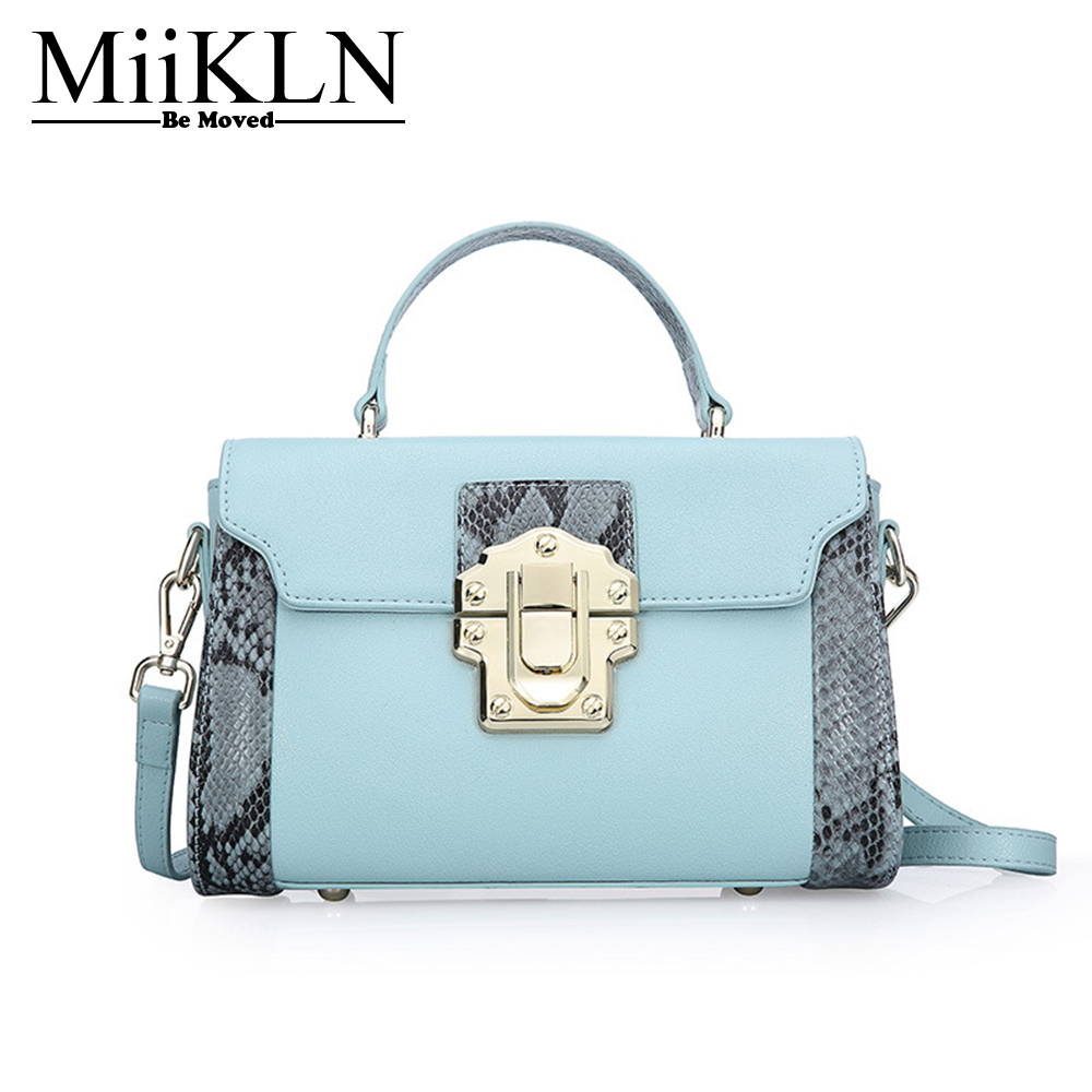 MiiKLN New Collection Split Cow Leather Small Women Bags Blue Black Pink Boa Lines Mini Ladies Handbag Women Messenger Bag 2017 fashion all match retro split leather women bag top grade small shoulder bags multilayer mini chain women messenger bags