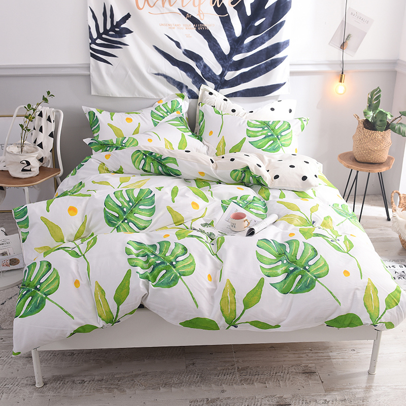 leaves printing Bedding Set 100% cotton Nordic Style Bedclothes Bed Linens Duvet Cover Set Bed Sheet fitted sheet 1.2/1.5m bed leaves printing Bedding Set 100% cotton Nordic Style Bedclothes Bed Linens Duvet Cover Set Bed Sheet fitted sheet 1.2/1.5m bed