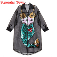 Sexy Club Party Dress Transparent Sequined Mermaid Bling Organza Dress With Zipper Long Cardigan Summer Beach Dresses Harajuku