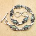 "Blue Fire Genuine LABRADORITE Gem Link Bracelet 8 1/2 "" ! Silver Plated Jewelry"