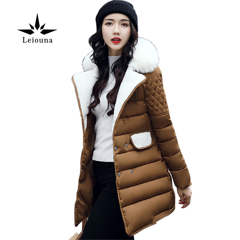Leiouna Promotion Row Buckle Suit Clothes Loose Coat Cotton Thick Hair Parka Wadded Jacket Feminina Warm Overcoat Winter видеоигра бука saints row iv re elected