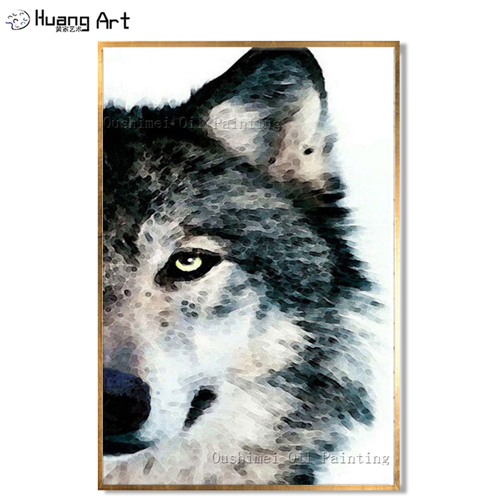 Artist 100%Handmade Abstract Grey And White Black Animals Wolf Oil Painting On Canvas Portrait Head Art