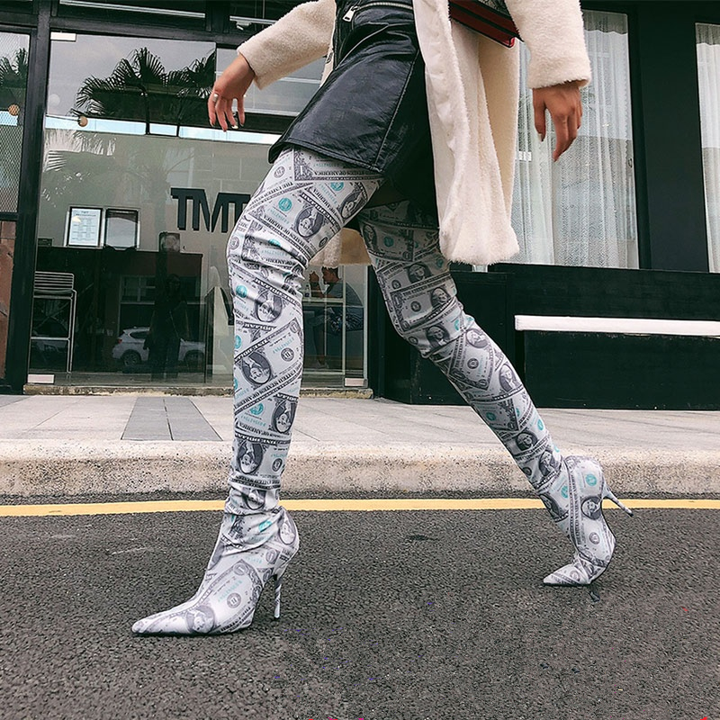 цена Top Quality Stretch Sock Boots Woman Pointed Toe Strange High Heel Shoes Sexy Over The Knee Boots Femme Dollar Long Boots Woman