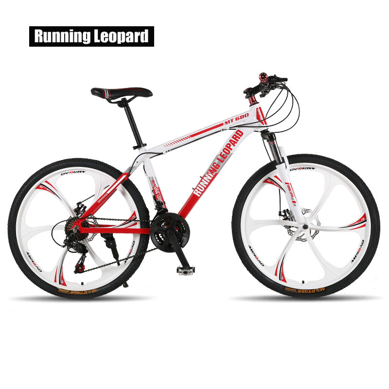Running Leopard mountain bike 26 inch steel 21 speed bikes double disc brakes variable speed road Running Leopard mountain bike 26-inch steel 21-speed bikes double disc brakes variable speed road bikes racing bike