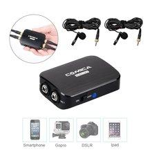 Comica cvm-d03 моно/стерео Съемная muti-функциональных Dual-Head петличный микрофон комплекты для смартфонов Камера SLR