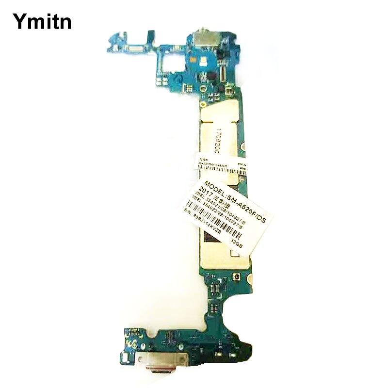 Ymitn desbloqueado con Chips de placa base para Samsung Galaxy A5 2017 Duos A520 A520F A520F/DS LTE Motherboard Flex cable placas lógicas