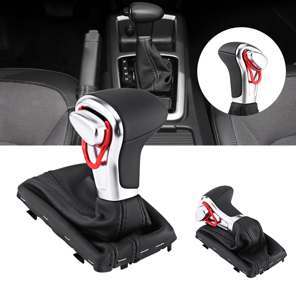 Gear Shift Knob Gaitor Boot Cover Black Leather For Audi A3 8P A4 B8 A5 A6 C6 Q5 Q7 Car Accessories antislip dotted design red soft silicone car gear shift knob cover