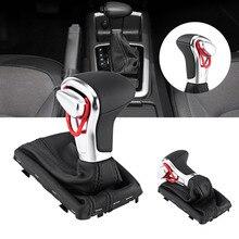 Gear Shift Knob Gaitor Boot Cover Black Leather For Audi A3 8P A4 B8 A5 A6 C6 Q5 Q7 Car Accessories