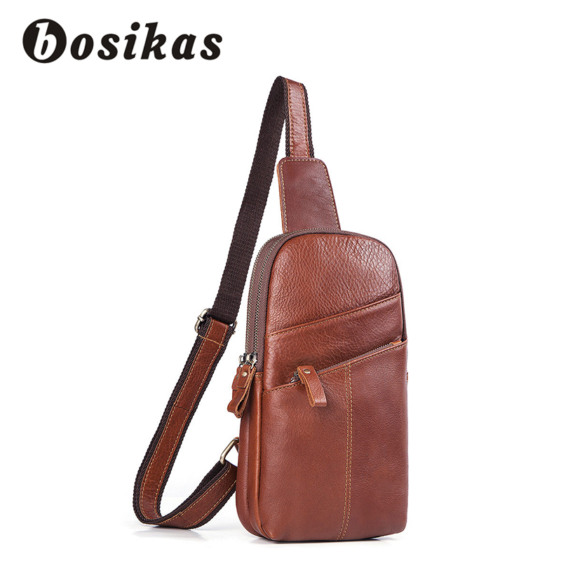 BOSIKAS Men's Shoulder Bag Genuine Leather Crossbody Chest Bags Men Casual Messenger bag Brand Designer Male Bolsa de hombres цена