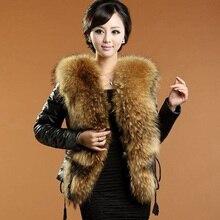 Daisy & Na Women 100% Real Genuine Sheep Leather Winter Slim Jacket Raccoon Fur Collar 202