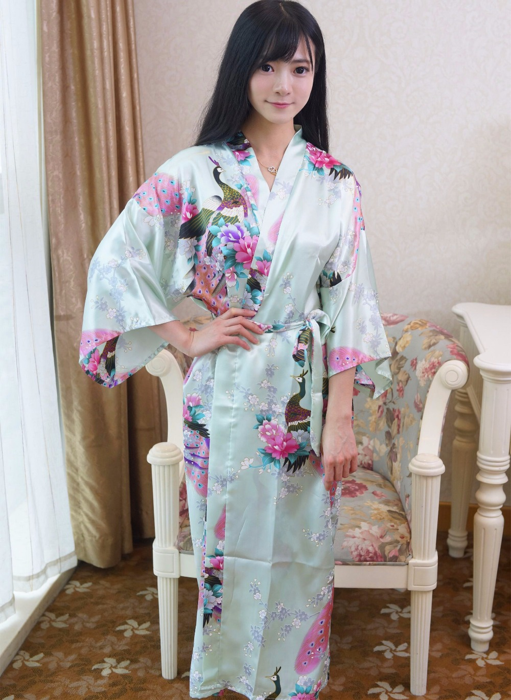 Top Selling Summer Womens Kimono Long Robe Light Green Rayon Bath Gown Yukata Nightgown Sleepwear Pijama Mujer One Siz Mdn008