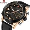 NAVIFORCE Men's Luxury Dual Time Display Waterproof Calendar Chronograph Leather Quartz Watches
