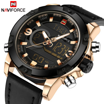 NAVIFORCE Men's Luxury Dual Time Display Waterproof Calendar Chronograph Leather Quartz Watches