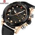 NAVIFORCE Luxus Marke Männer Sport Uhren männer Leder Digitale Armee Militär Uhr Mann Quarz wasserdichte Uhr Relogio Masculino