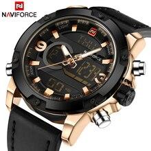 NAVIFORCE montres de Sport pour hommes, de luxe, en cuir, de marque numérique, horloge à Quartz, étanche
