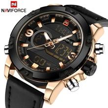 NAVIFORCE יוקרה מותג גברים ספורט שעונים גברים של עור דיגיטלי צבא צבאי גבר שעון קוורץ עמיד למים שעון Relogio Masculino