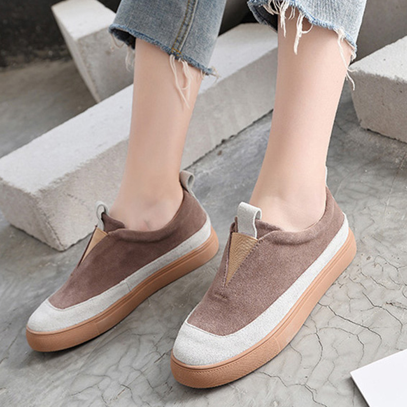 Suede     Leather   Shoes Women Sneakers 2019 Fashion Ins Woman Loafers Cow   Leather   Shoes Casual Women Flats Thick Sole Slip-on A1348