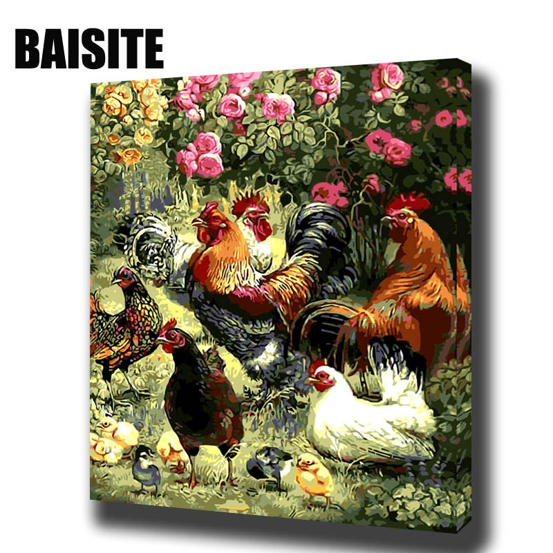 BAISITE DIY Framed Oil Painting By Numbers Animal Pictures Canvas Painting For Living Room Wall Art Home Decor 8011