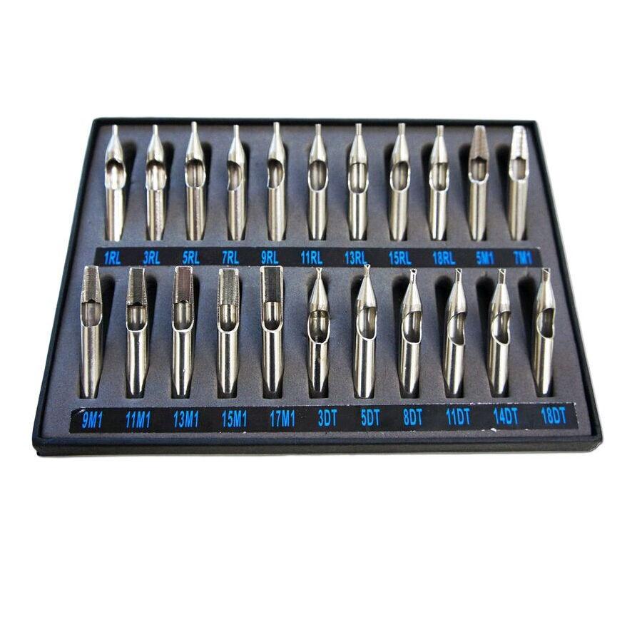 22pcs 304 Stainless Steel Tattoo Tip Set Complete Kit For Grip Machine Gun Box -- TTK-01A