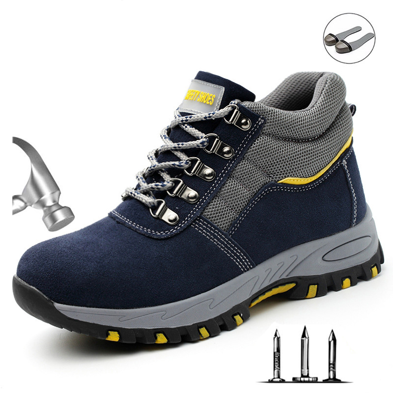 Outdoor Men's High Top Fashion Steel Toe Anti Smash Safety Shoes Men Puncture Proof Anti-slip Protective Work Shoes