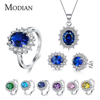 7 Color Classic Real 925 Sterling Silver Jewelry Sets Fashion Earrings Clear Oval Crystal Pendant Necklace