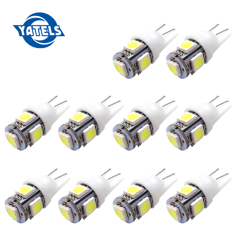 10pcs Auto T10 5 LED 1W 5050 W5W Wedge Door Parking Bulb Light Car 5W5 LED Dome Festoon C5W C10W License Plate Light Xenon DRL 5 1w led bulb with ceramic housing