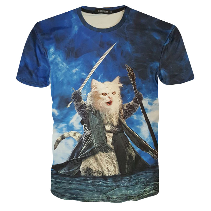 Summer magician kitty 3D Print T-shirt Unisex Tee Shirts Short Sleeve Casual Homme Loose Kid Teen Tops