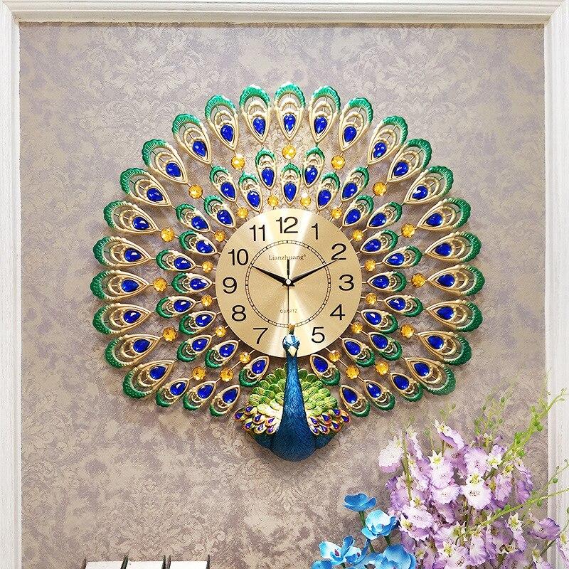 Horloge murale paon Design moderne salon horloge créative montres murales Quartz muet horloges murales autocollants décoratifs