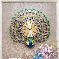 Peacock Wall Clock Modern Design Living Room Creative Clock Wall Watches Mute Quartz Clocks Wall Stickers Decorative