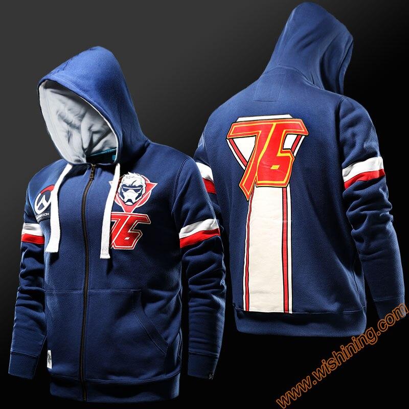 2017 new ow game solider 76 hoodies watch over game blizzard cosplay hoodie mens boy zip
