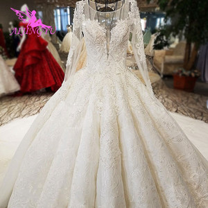Image 1 - AIJINGYU Sheer Wedding Dress Informal Bridal Gowns Coutures Sew engagement With Jewels For Sale Luxury Wedding Dresses Near Me