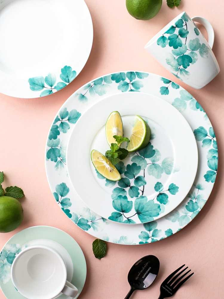 EECAMAIL Japanese-style Fresh Ginkgo Ceramic Tableware Set Plate Home Dish Western Dish Steak Plate Mug Bowl Dessert Plate
