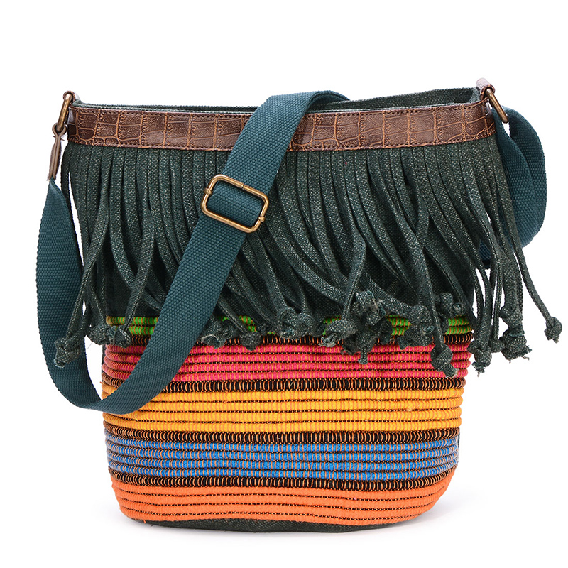 Women Canvas Bag Casual Striped Shoulder Bag Woven Retro Tassel Crossbody Bags Large Capacity Female Bucket Handbag WholesaleWomen Canvas Bag Casual Striped Shoulder Bag Woven Retro Tassel Crossbody Bags Large Capacity Female Bucket Handbag Wholesale