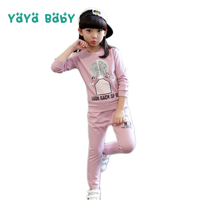 4 5 6 7 8 9 10 11 12 Year Children Tracksuits for Girls 2018 New Long Sleeve Girls Clothing Set Casual Cotton Kids Sport Suits girls clothes cotton casual children clothing set 2018 new long sleeve shirts striped leggings baby kids suits 3 4 5 6 7 8 years