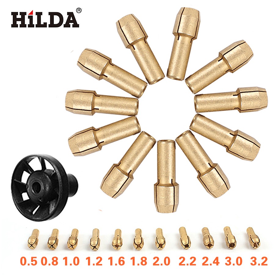 HILDA Brass Collet Chuck 0.5/0.8/1.0/1.2/1.6/1.8/2.0/2.2/2.4/3.0/3.2mm + M8*0.75 Dust Blower Dremel Rotary Tools Accessory