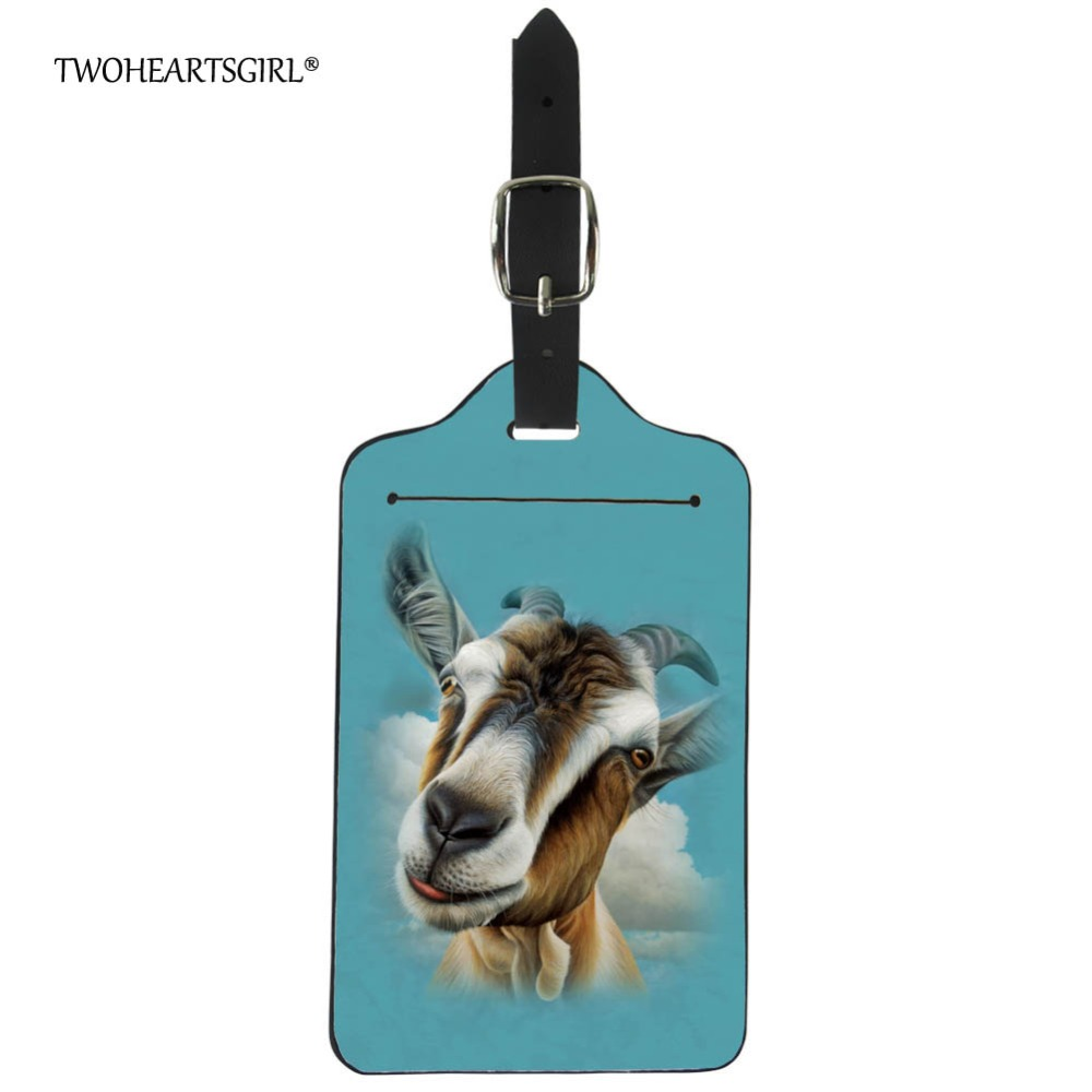 Twoheartsgirl Printing Animal Goat Luggage Tag Personalized Travel Accessories Leather Women Men Suitcase Name Address Label