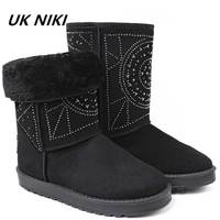 UKNIKI Winter Woman Snow Shoes Slip On Rivet Snow Boots Mid Calf Warm Shoes Cotton Boots