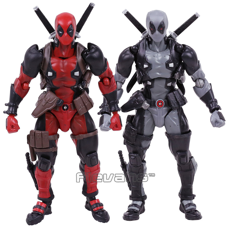 Revoltech Series NO.001Marvel Deadpool Gray Color Ver. PVC Action Figure Collectible Model Toy with Retail Box marvel deadpool with weapons pvc action figure collectible model toy 7 18cm